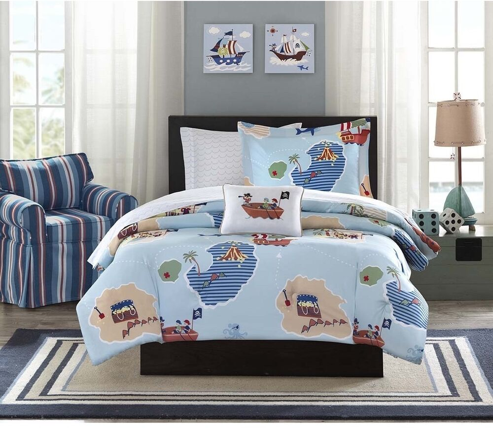 nautical pirates twin bed in a bag comforter with sheet set kids room bedding ebay. Black Bedroom Furniture Sets. Home Design Ideas