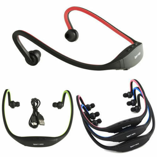 casque mp3 sport radio musique ecouteur sans fil fm carte m moire sd 1 8 gb 6h ebay. Black Bedroom Furniture Sets. Home Design Ideas