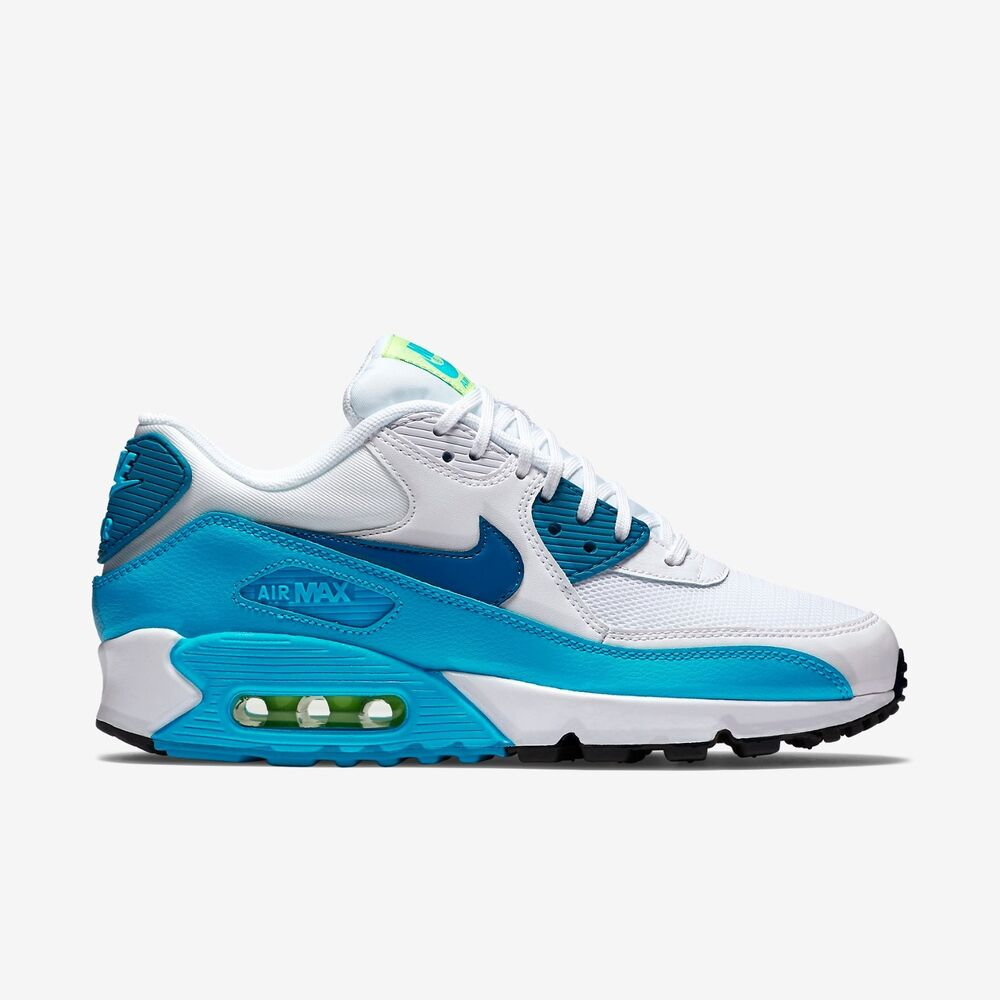 New Nike Women\u0026#39;s Air Max 90 Essential Shoes (616730-029) White/Green Abyss-Blue | eBay