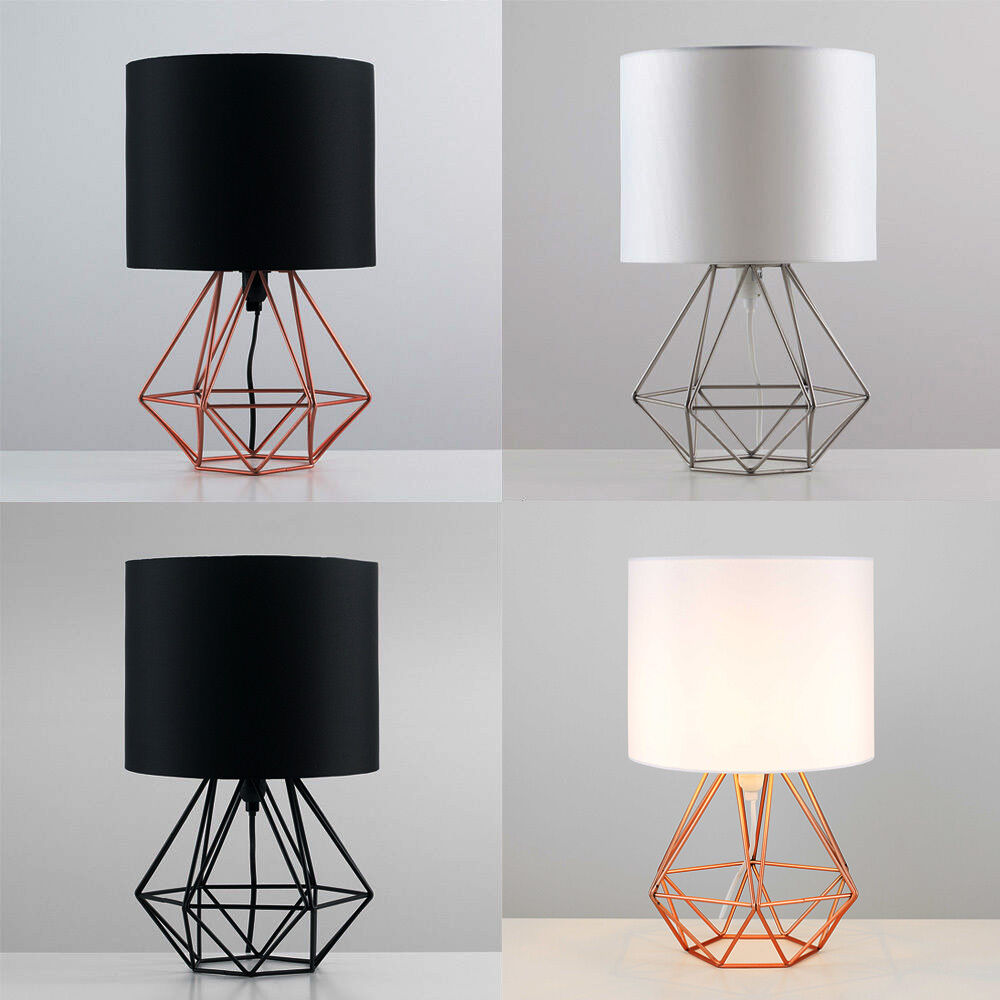 Decorative Retro Geometric Table Lamp With Drum Shade Bedside Home Lighting Ebay