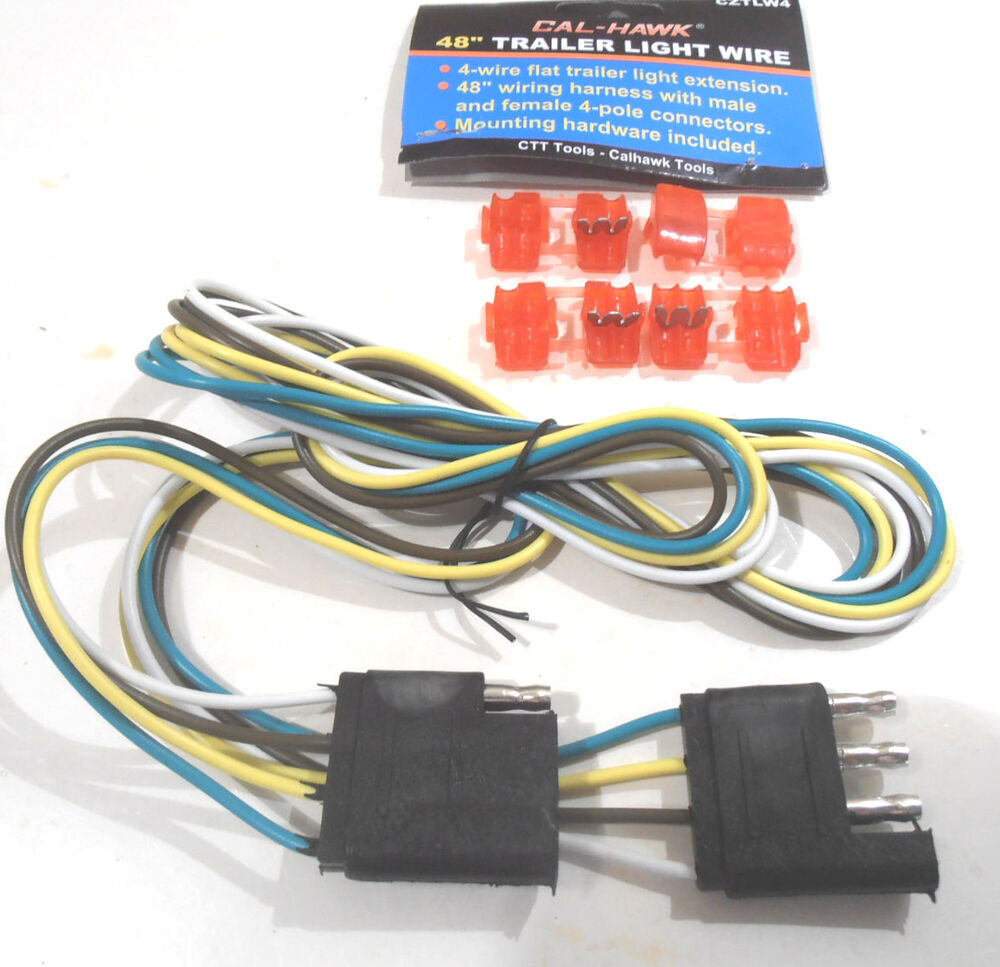"NEW 48"" 4-WIRE FLAT TRAILER LIGHT WIRE 48"" WIRING HARNESS"