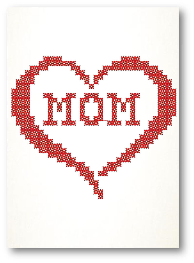 Heartbroken Mom Warns Others After 18 Year Old Daughter: Mom In Heart Cross Stitch Embroidered Greeting Card