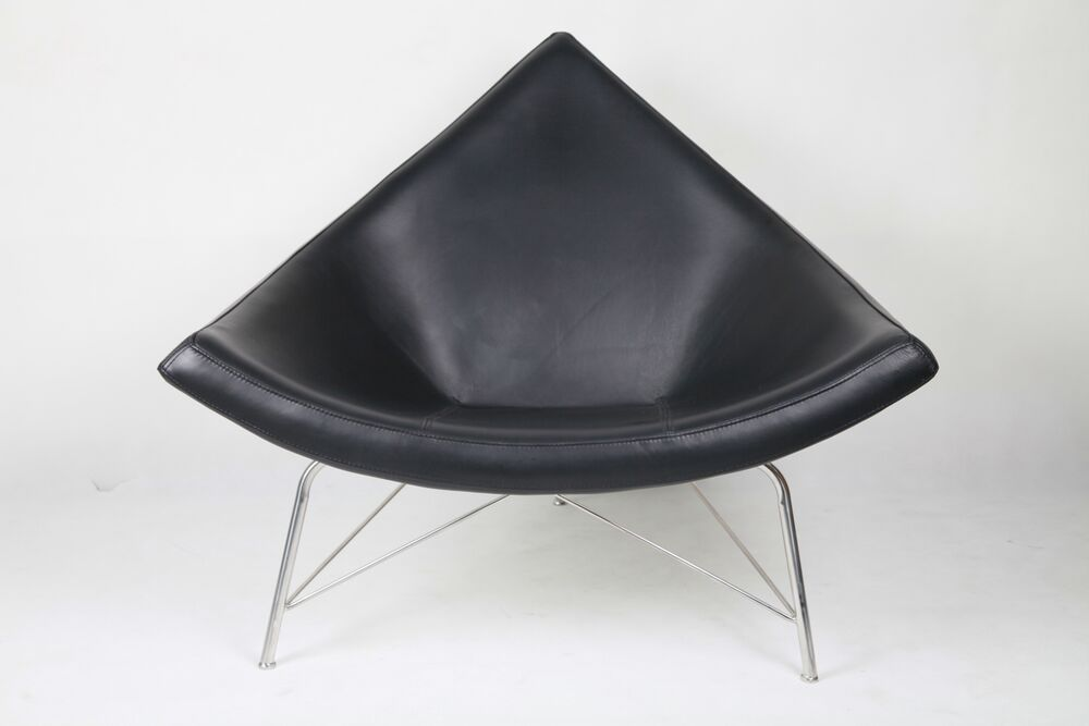 LeisureMod George Nelson Style Coconut Chair In Black Leather EBay