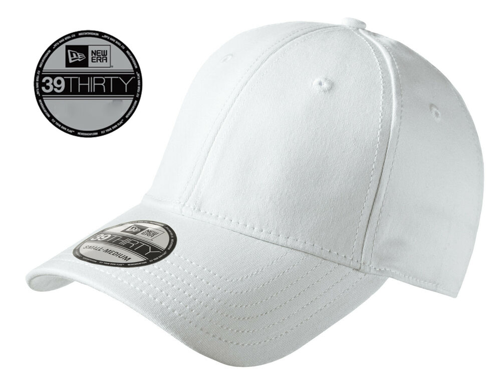 0f90c17dd909f Details about New Era 39Thirty Blank Stretch Cotton fitted White Hat Cap  NE1000 -Free Shipping