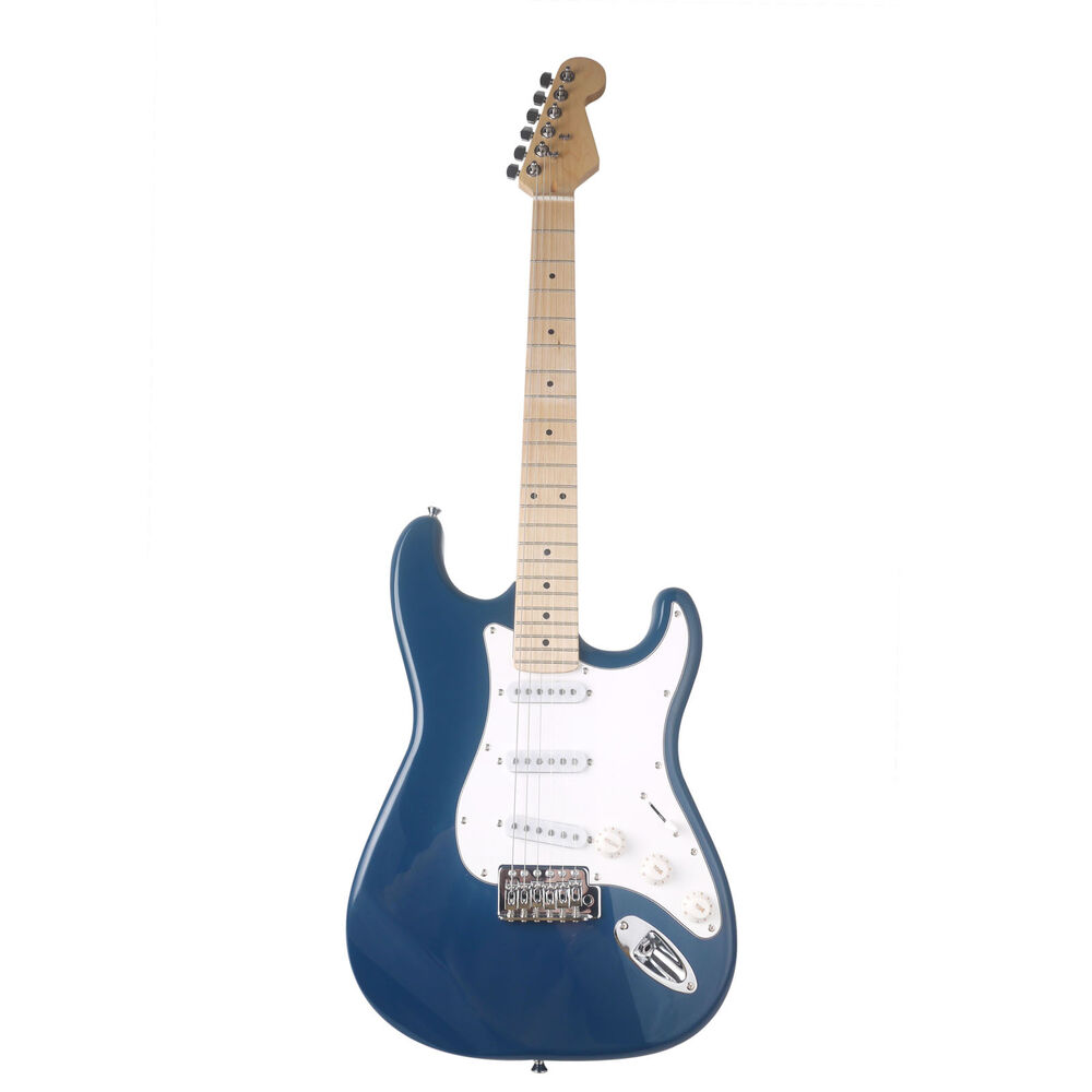 strat style electric guitar maple neck poplar solid body eletronic guitar blue ebay. Black Bedroom Furniture Sets. Home Design Ideas