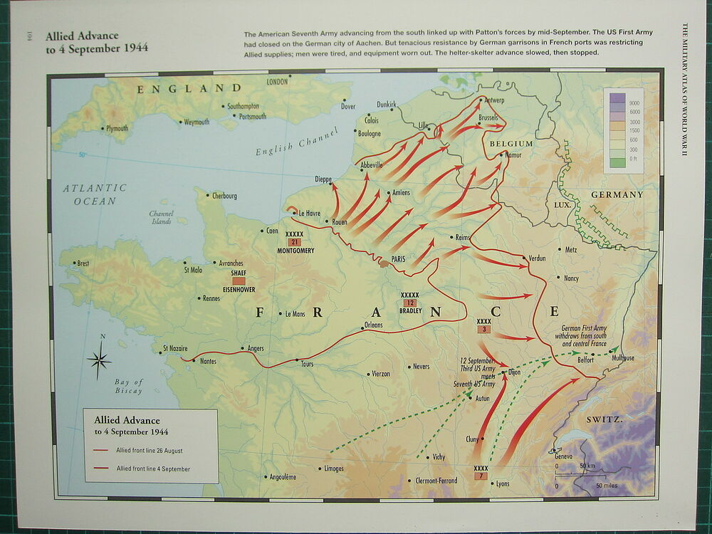 WW2 WWII MAP ~ ALLIED ADVANCE FRANCE 4 SEPT 1944 ALLIED FRONT LINES ...