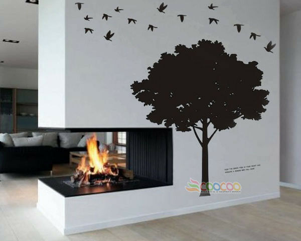Wall Decor Decal Sticker Vinyl Large Silhouette Tree 5 Ebay