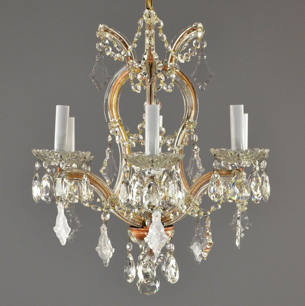 Crystal Chandelier Old: Marie Therese Crystal & Brass Chandelier C1950 Antique