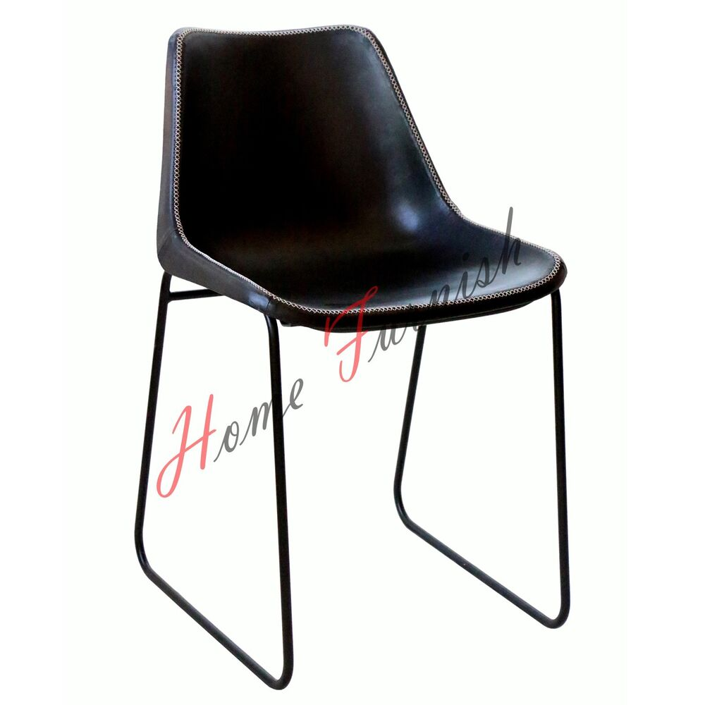 Vintage industrial style dining chair black leather chair for Black leather dining chairs