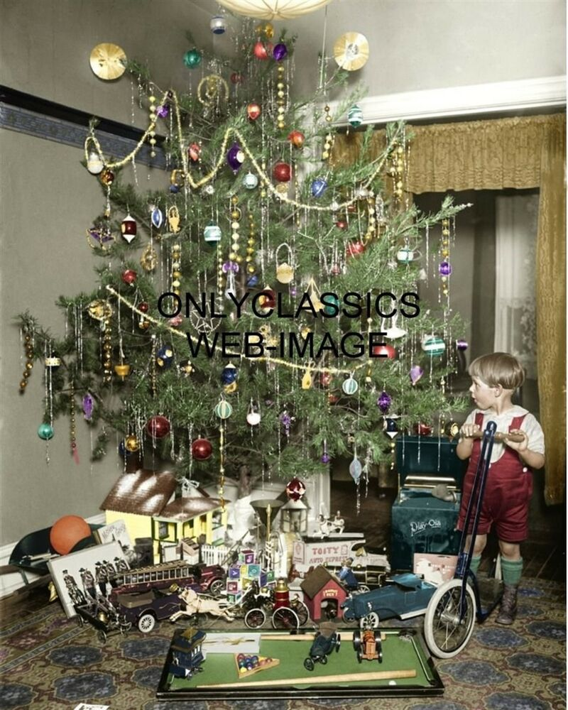 Christmas Tree With Toys : Vintage christmas tree all decorated colorized photo