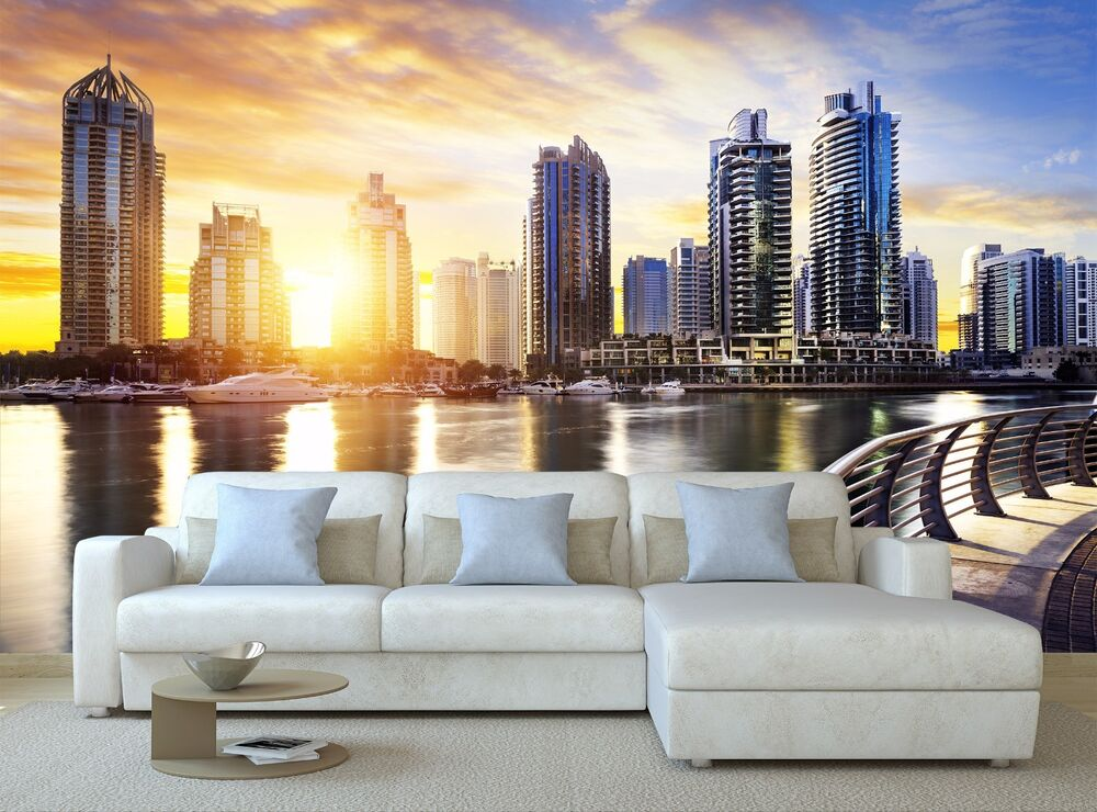 Cityscape of dubai at night mural photo wallpaper decor for Cityscape murals photo wall mural