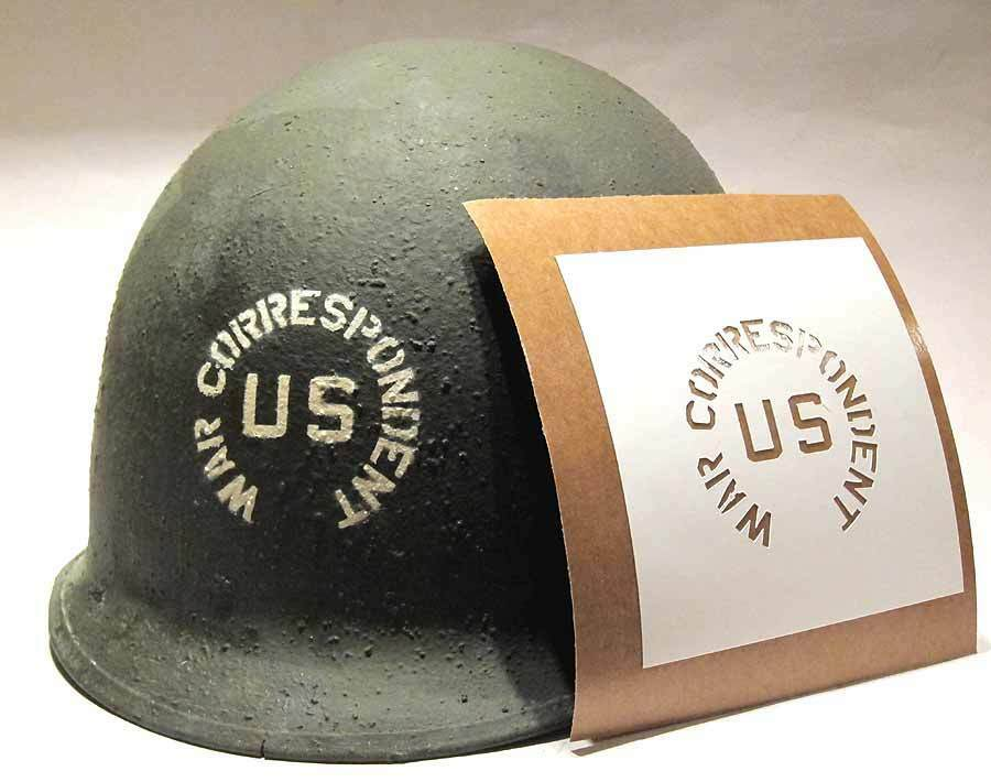 war correspondent helmet stencil template ww2 usa army us wwii m1 m2 m1c decal