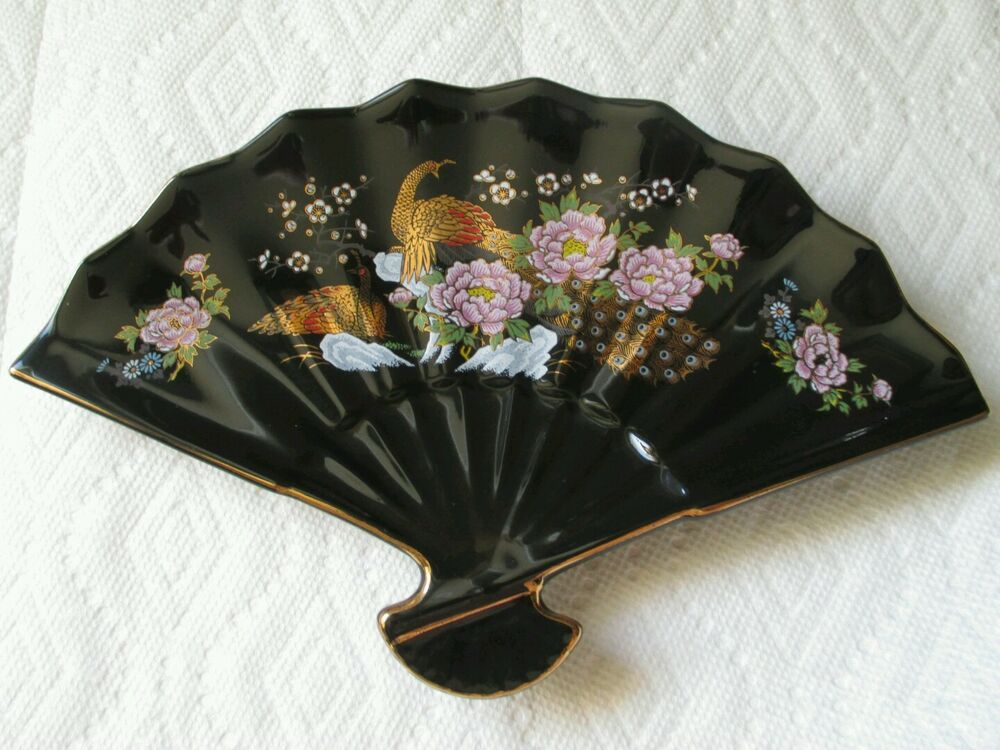 Vintage ceramic fan black home decor japanese peacocks for Home decorations fan