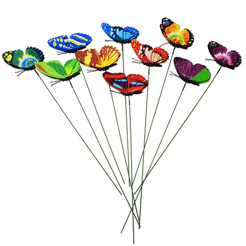 10pcs Plastic Butterfly On A Stick For Home Garden Plant