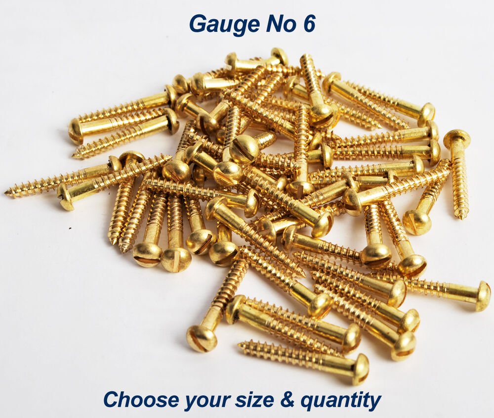 Solid Brass Round Dome Head Slotted Wood Screws Size No 6