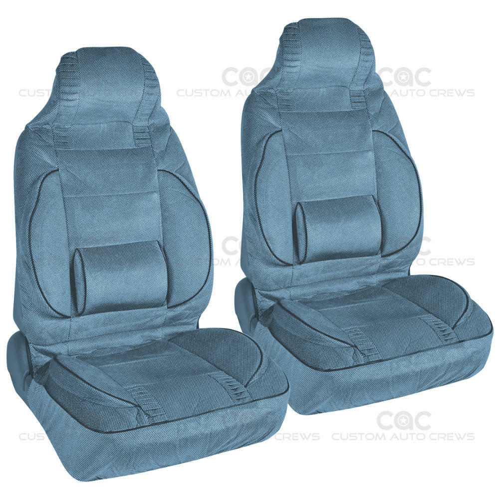 Ebay Car Seat Covers >> Blue 2pc High Back Bucket Seat Covers Set - Built-In Lumbar Support Cushion | eBay