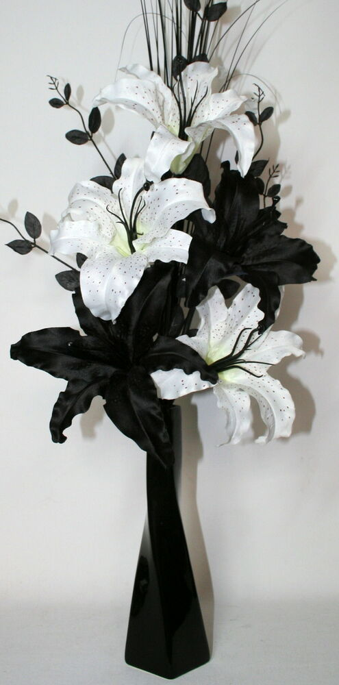 Artificial silk flower arrangement black white lily dragon flowers ceramic vase ebay