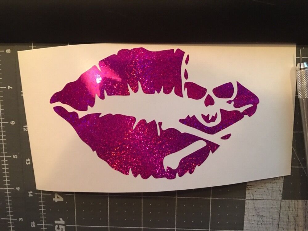 Kiss Of Death Lips Skull Purple Glitter Vinyl Decal