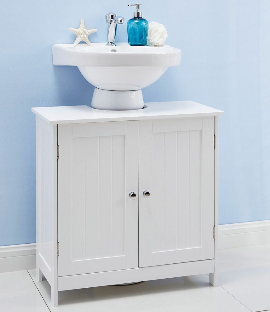 White under sink bathroom cabinet undersink storage for Bathroom under sink organizer
