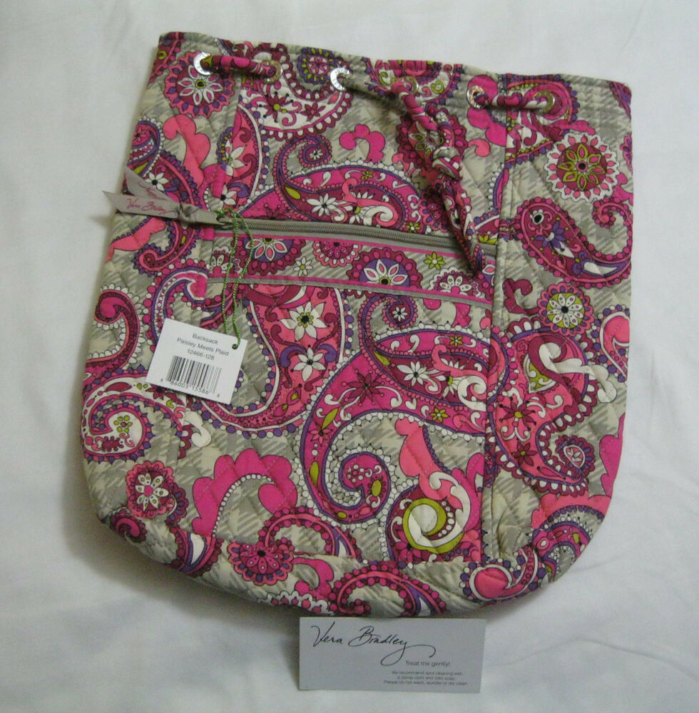 vera bradley paisley meets plaid backsack backpack bookbag baby diaper bag nwt ebay. Black Bedroom Furniture Sets. Home Design Ideas