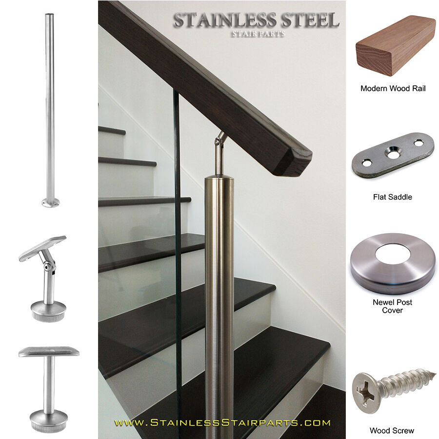 Stainless Steel Railings Glass Handrails Installation: Stainless Steel Stair Parts Modern Glass