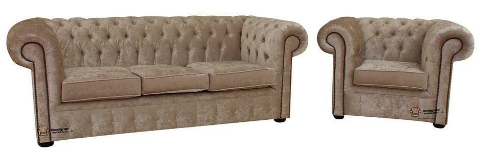 Chesterfield 3 Seater Club Chair Senso Oyster Velvet