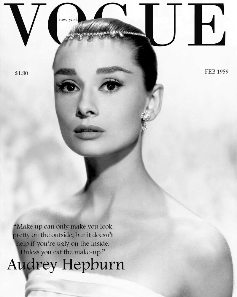 home wall art print magazine cover poster audrey hepburn vogue a4 a3 a2 a1 ebay. Black Bedroom Furniture Sets. Home Design Ideas