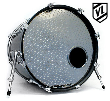 22 chrome or sparkle bass drum head with port hole ring new ebay. Black Bedroom Furniture Sets. Home Design Ideas