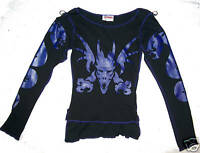 BLACK & PURPLE TRIBAL DRAGON  PRINT LONG SLEEVED TOP GOTH WHITBY 10 GOTHIC S