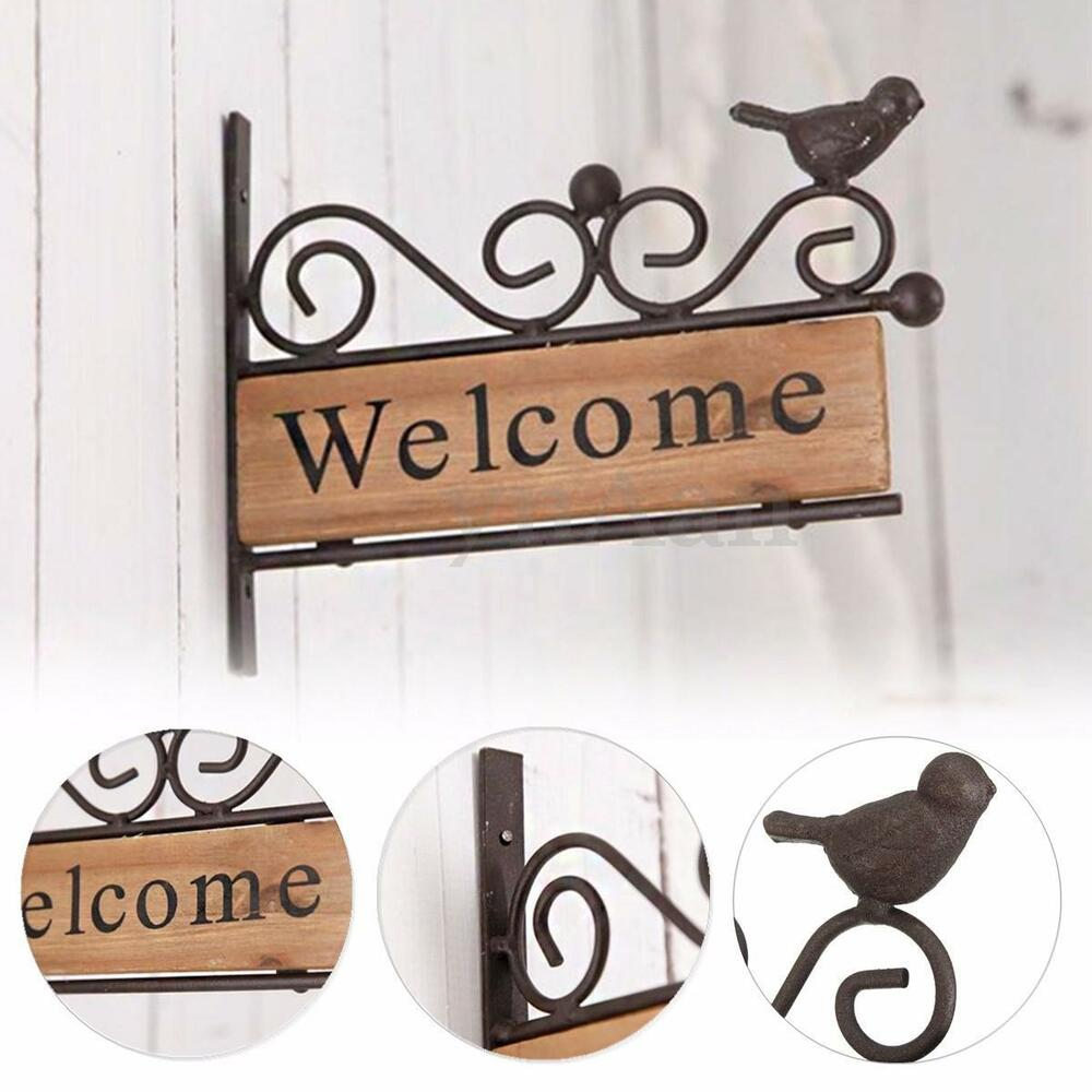 Vintage Wooden Signs Home Decor: Vintage Wooden Iron Welcome Plaque Wall Sign Bird Shop
