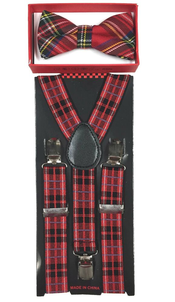 Red Black Stripe Toddler Bow Tie And Suspenders Set Baby