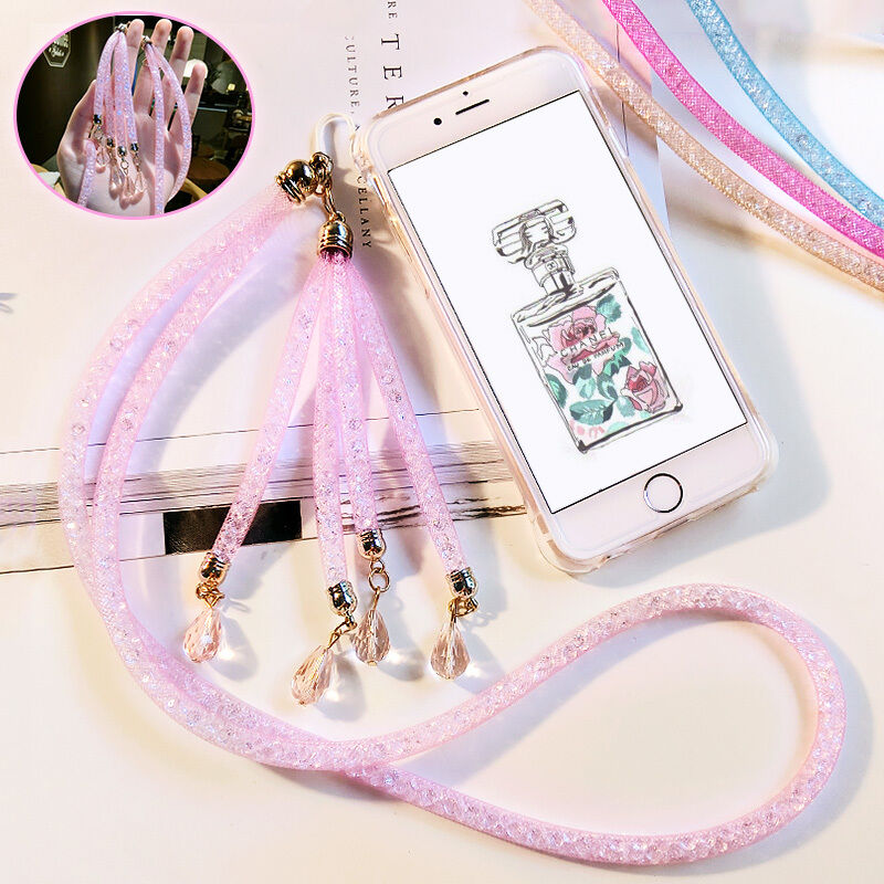 iphone lanyard case soft with bling rhinestone lanyard hanging 7112