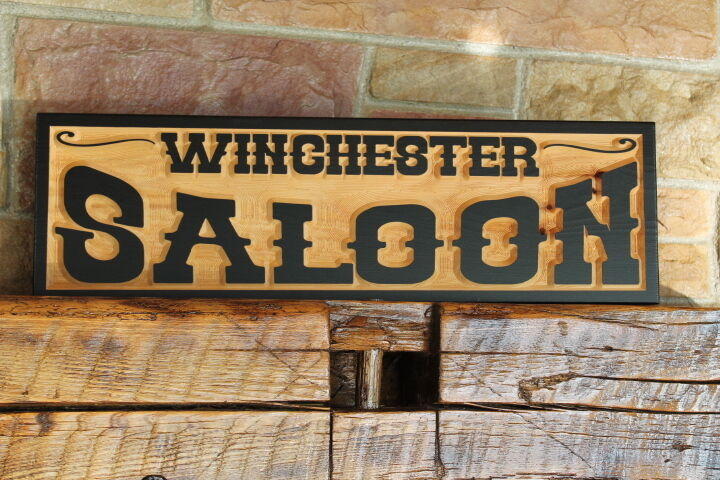 Custom old west sign wood carved personalized rustic for Personalized home decor