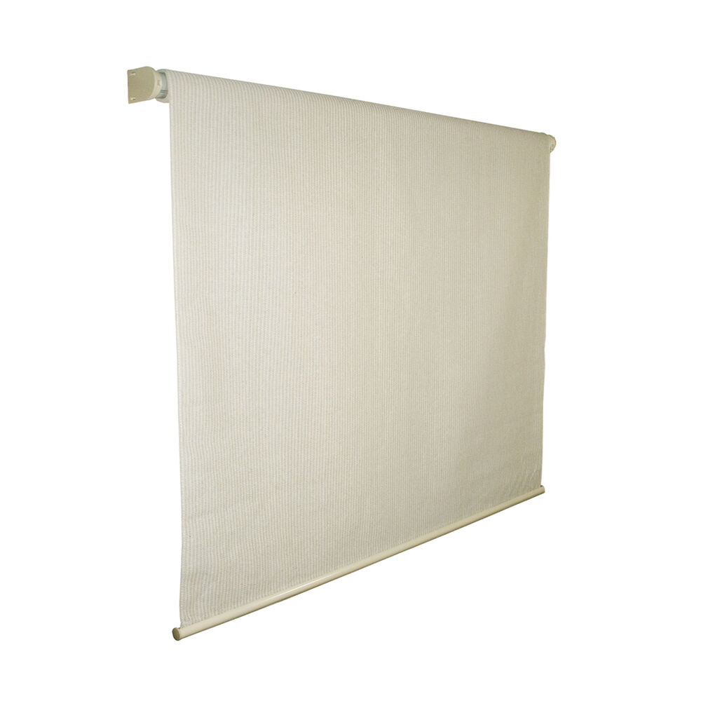 Coolaroo exterior cordless roller shade 8ft x 8ft pebble Cordless exterior sun shades