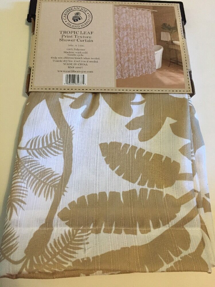 Caribbean Joe Tropic Leaf Topical Palm White Brown Fabric