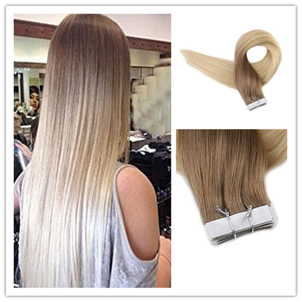 7a european remy tape in human hair extensions ombre blonde skin weft 20pcs 50g ebay. Black Bedroom Furniture Sets. Home Design Ideas