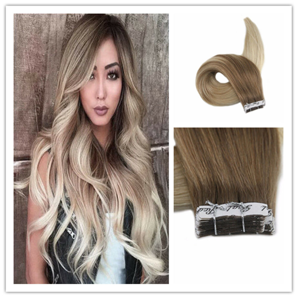 14 24 Quot Balayage Ombre Tape In Remy Human Hair Eztensions