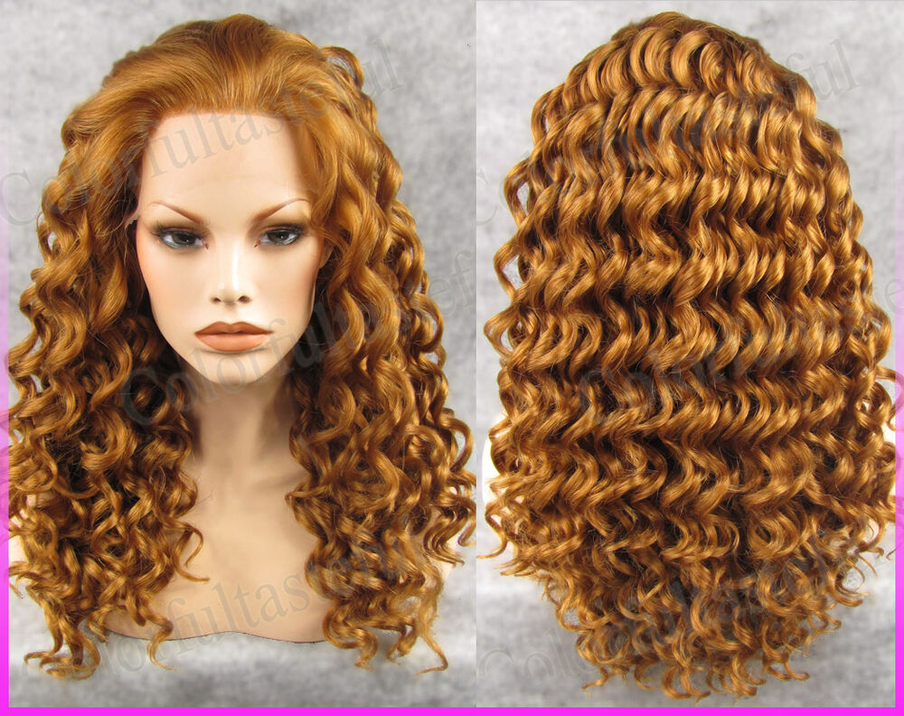 Gold Long Wavy Women Front Lace Full Wig GoldenLace