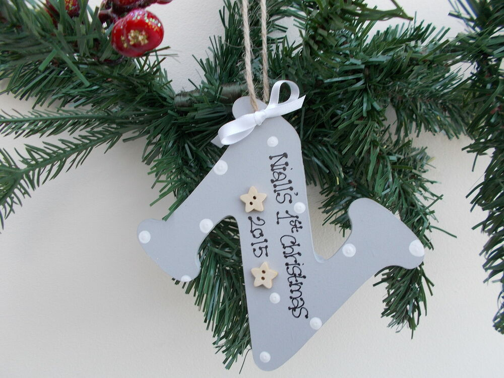 Personalised baby 39 s first christmas tree decoration any for Baby christmas tree decoration