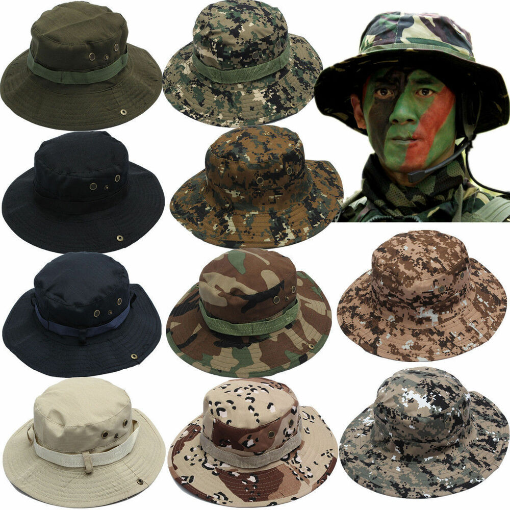 c7803c5f5e4 Details about Bucket Hat Military Camo Beanie Hat Casual Outdoor Hiking  Fishing Cap Wide Brim