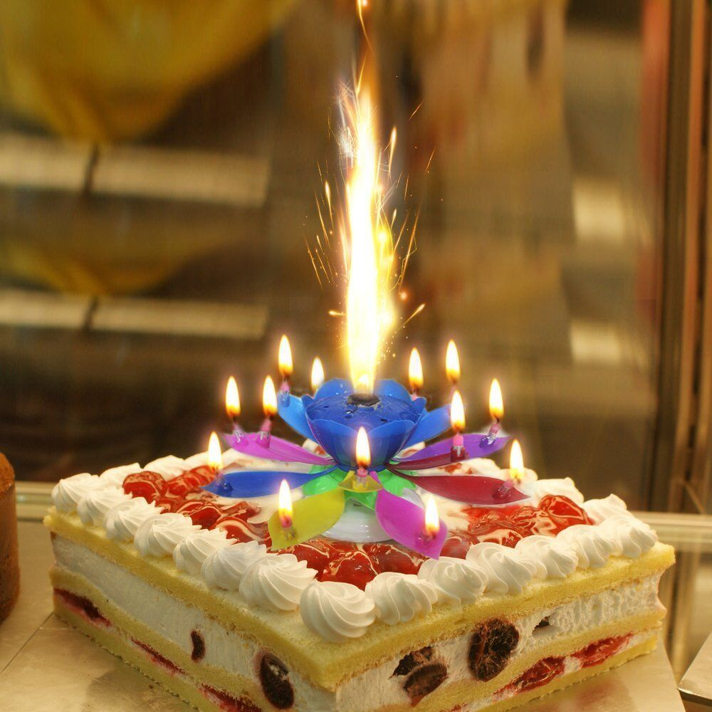Birthday Wishes Flower Cake Pastel: Music Singing Candle Spin Lotus Happy Birthday Wedding