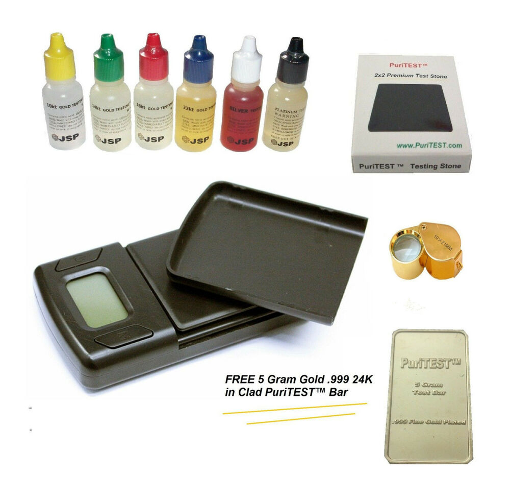 Gold Tester Kit : Gold testing acid jewelry kit w stone digital scale