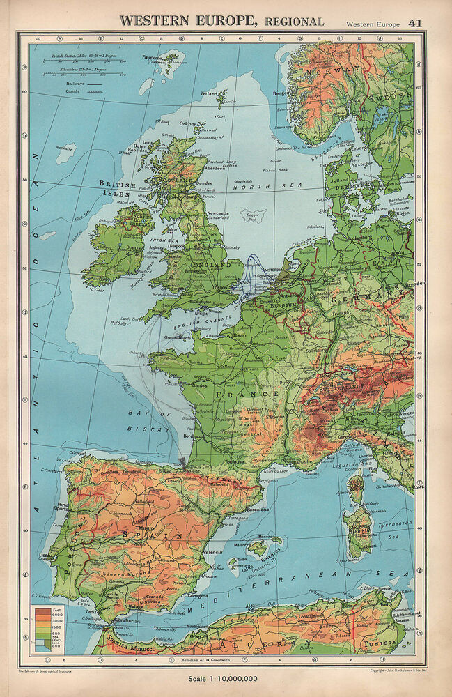 Map Of Western France.1952 Map Western Europe Physical British Isles France Spain Denmark