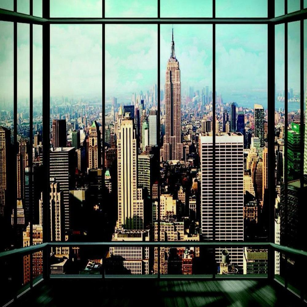 1 wall photo giant wallpaper new york window scenery view ny mural ebay. Black Bedroom Furniture Sets. Home Design Ideas