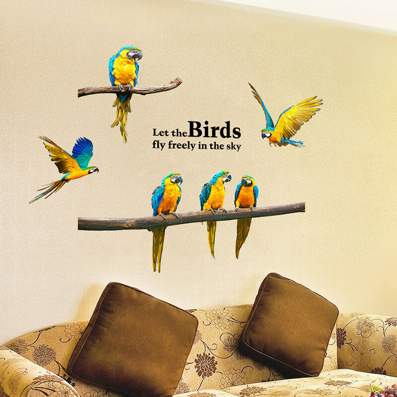 vinyl wall sticker diy home decor let the birds fly freely macaw art ebay. Black Bedroom Furniture Sets. Home Design Ideas