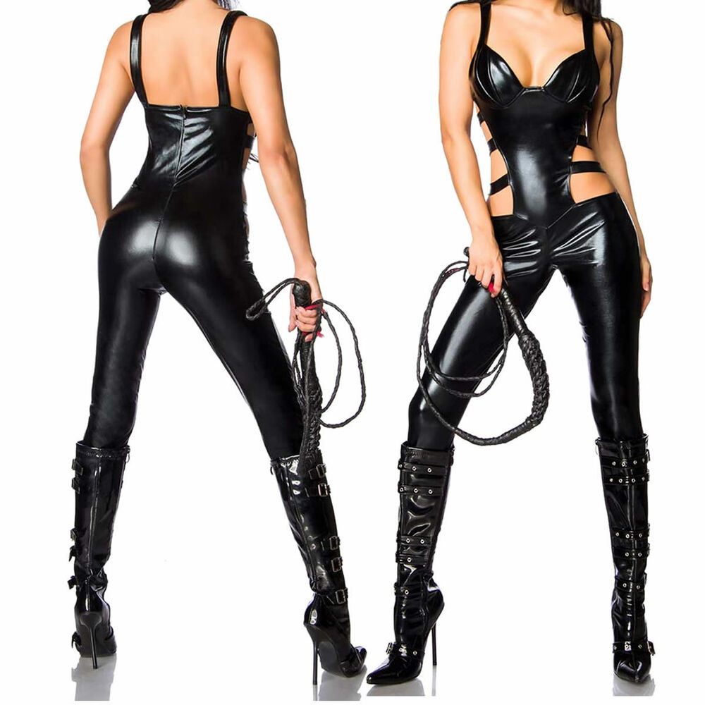 Womens Straped Catsuit Faux Leather Wet Look Bodysuit Sexy