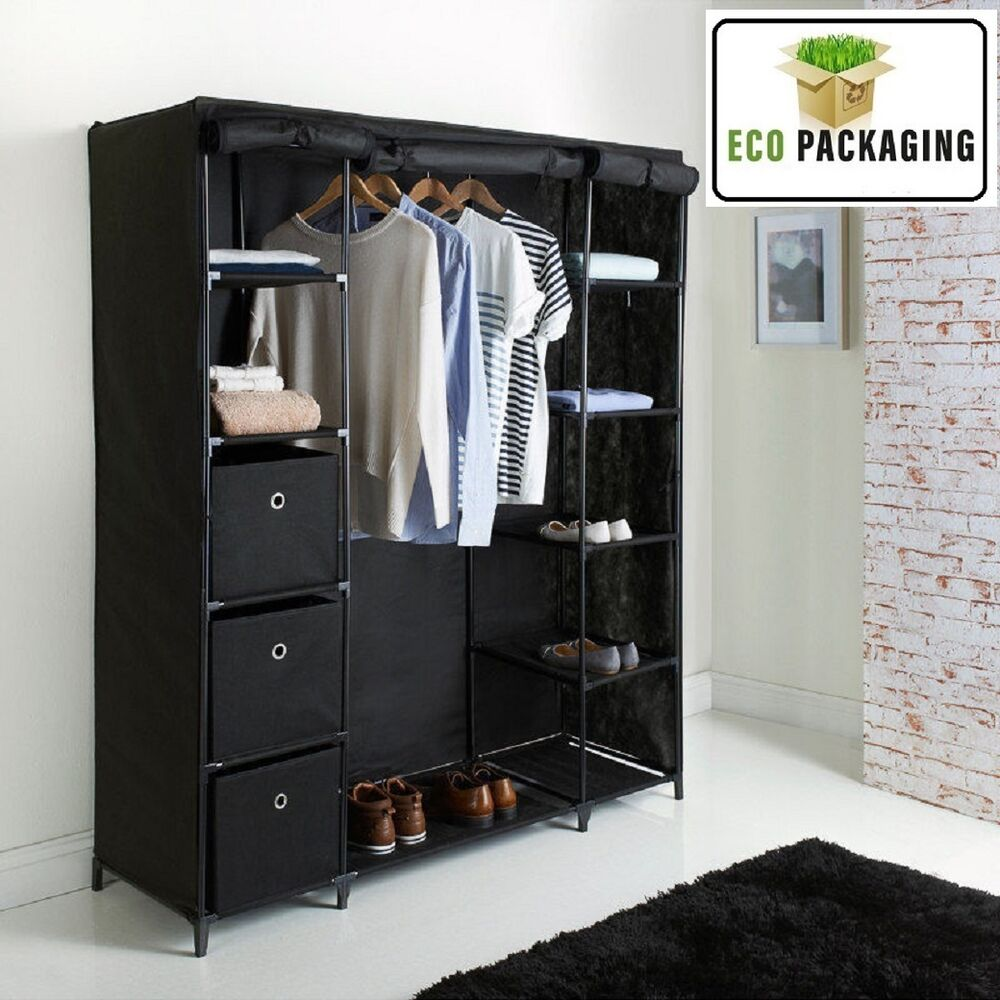 deluxe large canvas wardrobe non woven easy assembly wardrobe black ebay. Black Bedroom Furniture Sets. Home Design Ideas