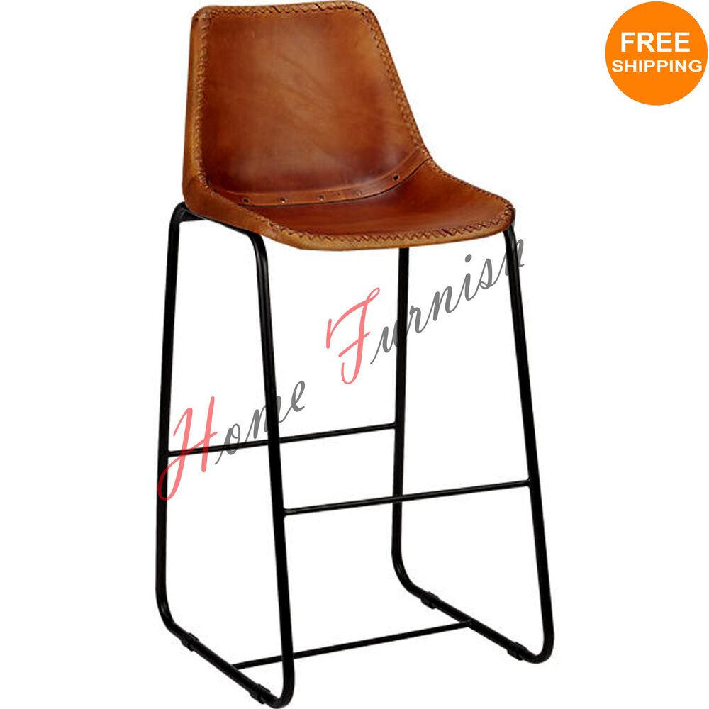 Vintage Look Industrial Bar Chair Genuine Leather Chairs