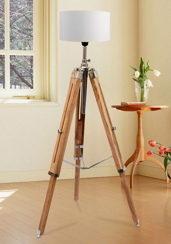 Marine nautical teak wood vintage floor lamp wooden tripod for Tripod spotlight floor lamp in teak wood