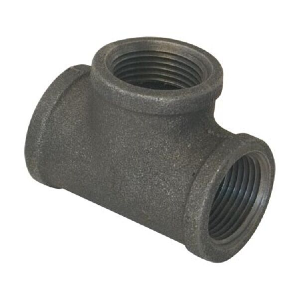 Quot black malleable iron tee pipe thread fitting ebay